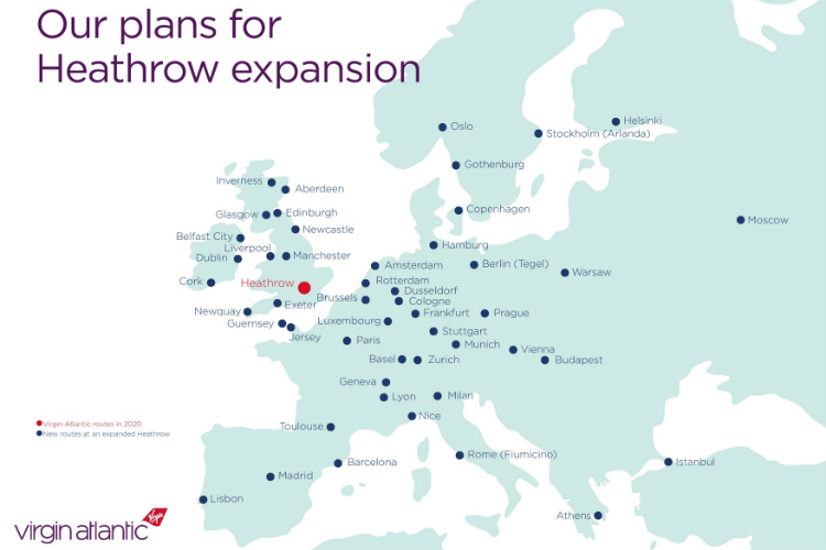 Virgin is planning 49 new European routes, 12 of which would be domestic