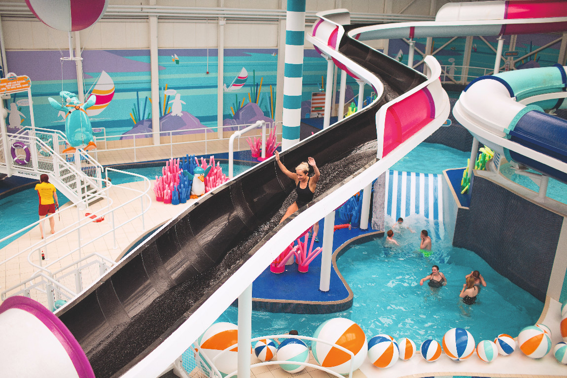 One of the giant dual flumes at Craig Tara's Splashaway Bay waterpark