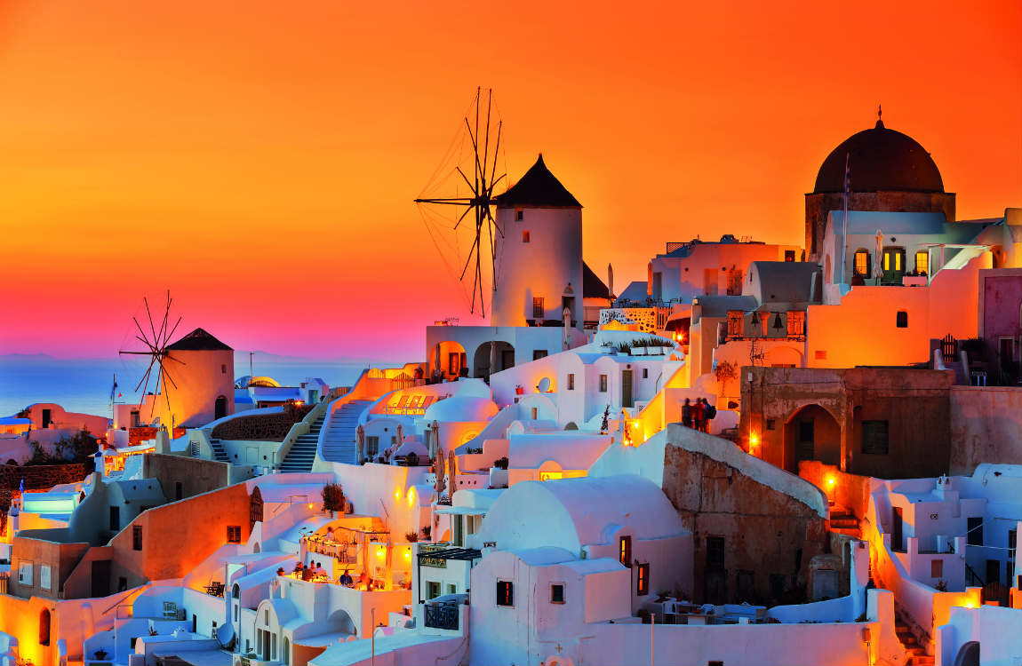 Sunset-watching is a spectator sport in Santorini