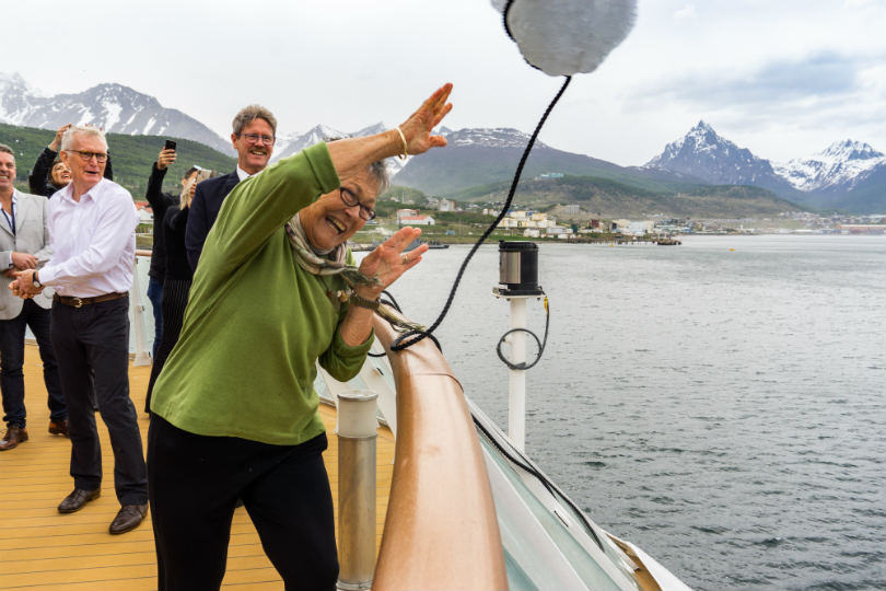 Margaret Mortimer christening Aurora Expeditions' ship, The Greg Mortimer