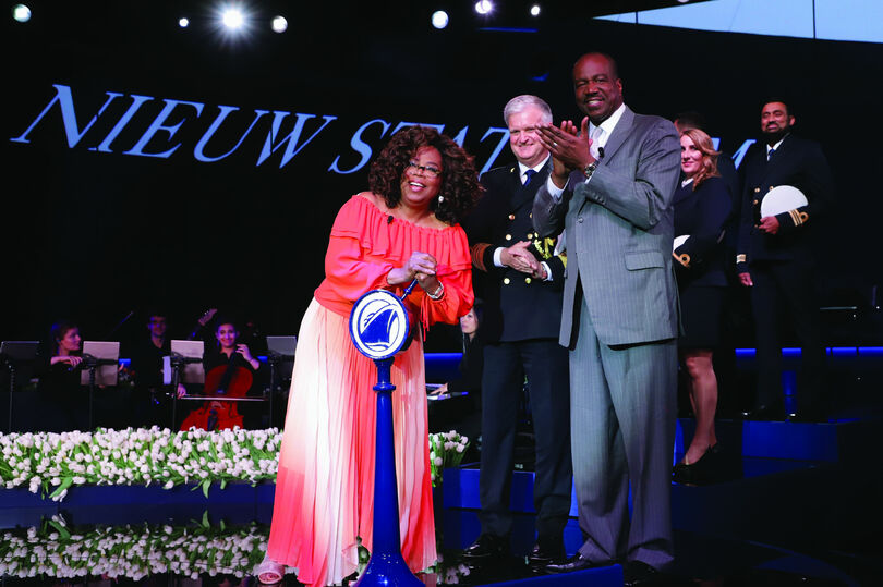 Ashford with Nieuw Statendam godmother Oprah Winfrey at the ship's naming ceremony