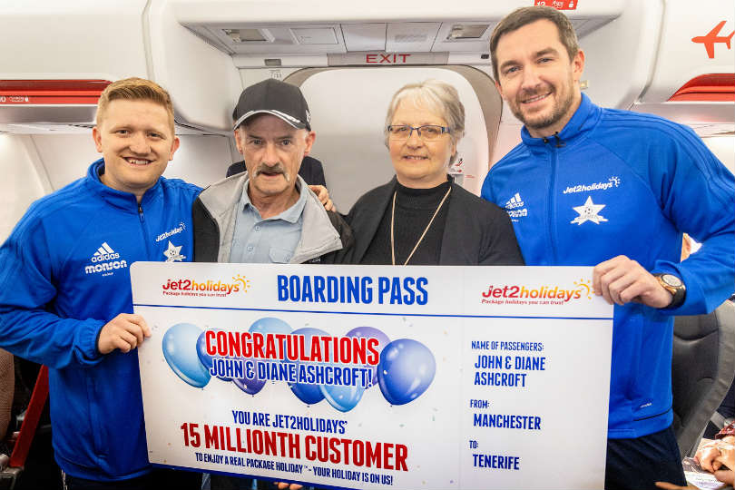 Jet2holidays celebrates 15 millionth customer with VIP surprise