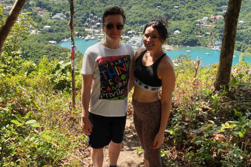 Andrew and Kristina at the top of hiking trails to the peak Marigot Ridge