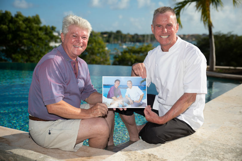 Gary Rhodes (right) with Leo Garbutt, owner of Calabash Luxury Boutique Hotel