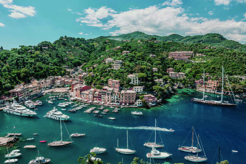 The hotel is in Portofino Harbour, Italy