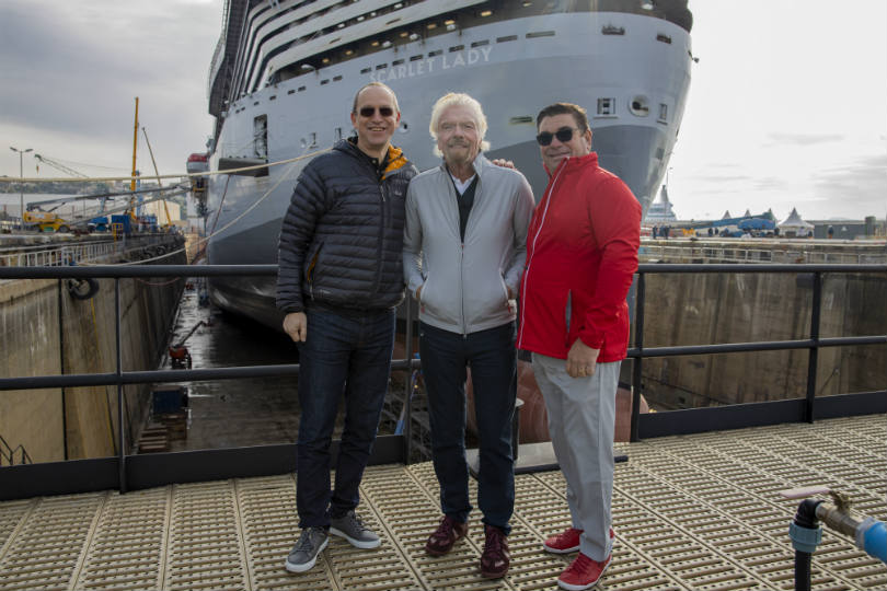 L-R: Shai Weiss, Richard Branson and Tom McAlpin outside Scarlet Lady
