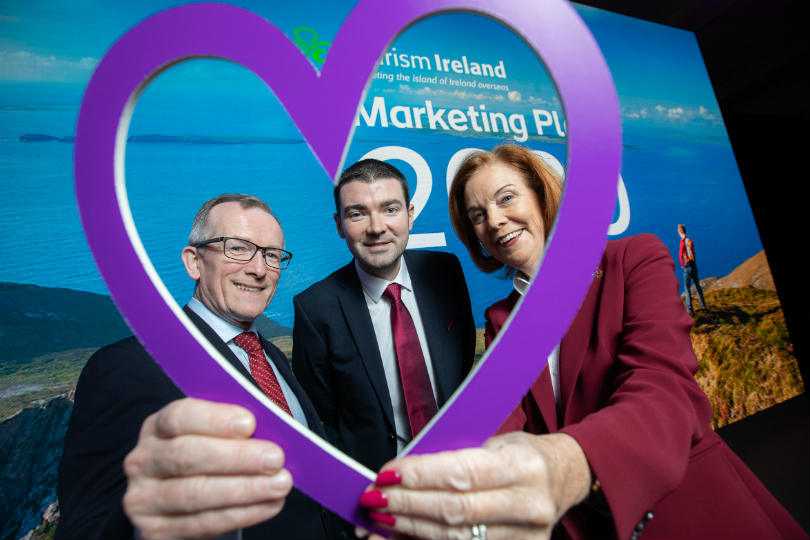 Tourism Ireland boss Niall Gibbons, tourism minister Brendan Griffin and chair Joan O'Shaughnessy
