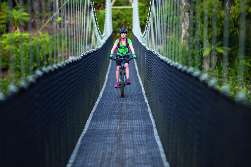 Forgotten World Adventures' tour goes over the longest ridable suspension bridge, Maramatah