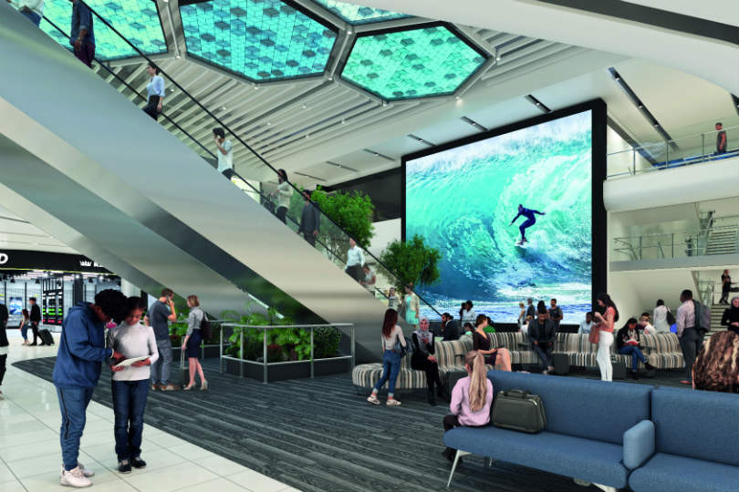 The new screen in Manchester airport's Terminal Two will be 83 square metres