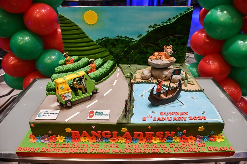Biman celebrated its new Manchester service with a spectacular cake