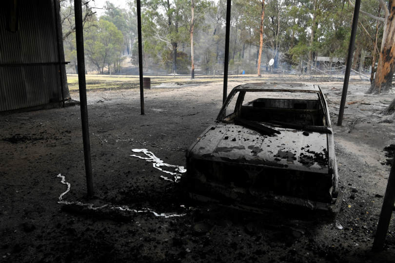 A burnt-out car after bushfires in Victoria, Australia. Picture: AAP Image/James Ross