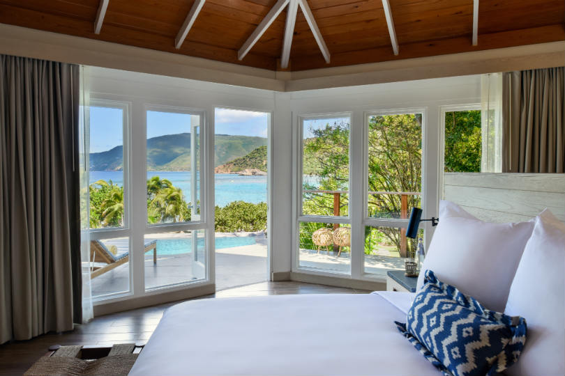 A room at the Rosewood Little Dix Bay resort