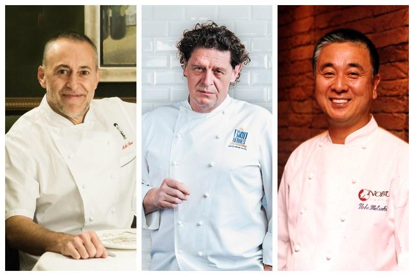 Chefs Michel Roux Junior, Nobu Matsuhisa and Marco Pierre White