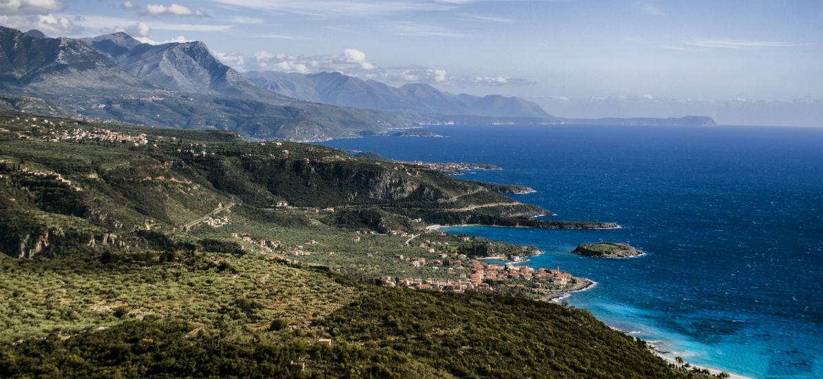 Kalamata is between the Taygetus mountain range and the Messenia Gulf