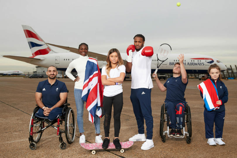 Athletes Ali Jawad, Dina Asher-Smith, Sky Brown, Cheavon Clarke, Alfie Hewett, Maisie Summers-Newton