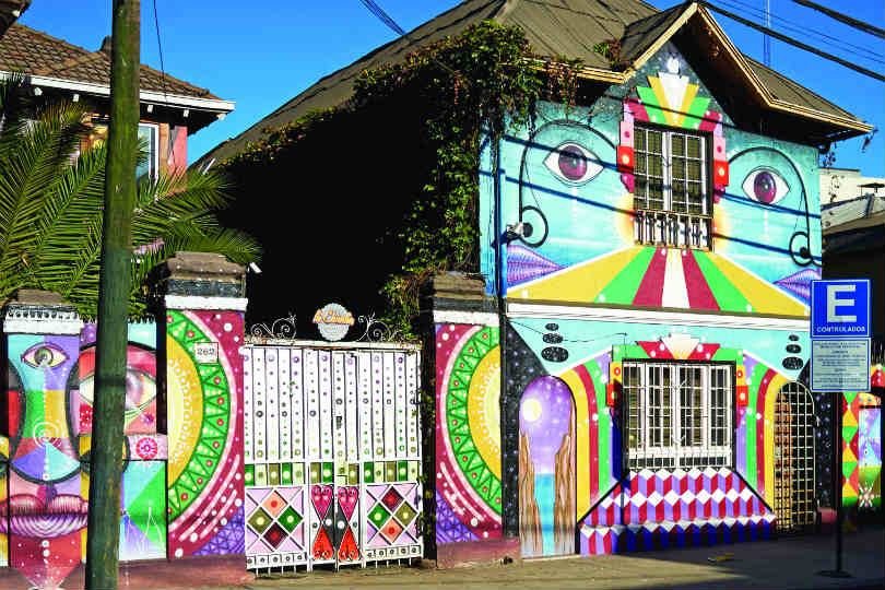 Painted house in the Barrio Bellavista area of Santiago, Chile