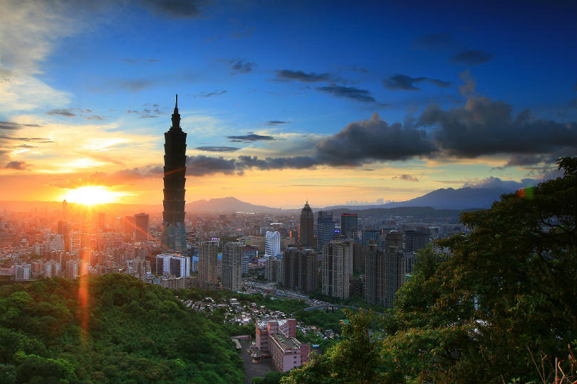 The skyline of Taipei, capital of Taiwan