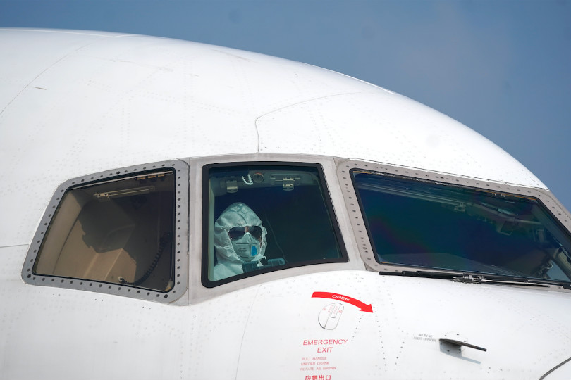 One pilot took their own precautionary measures to guard against coronavirus