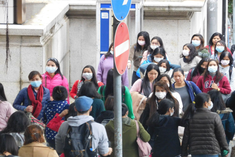 People trying to protect themselves against coronavirus in Hong Kong. Picture: Sara Macefield