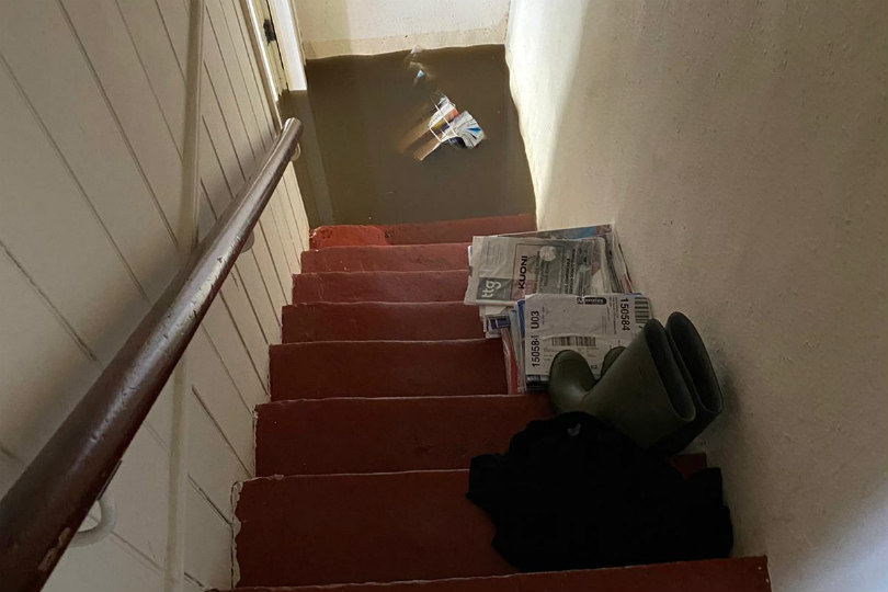Roger Benn was trapped upstairs during the flood