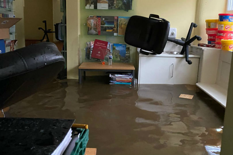 Water and sewage gushed into The Travel Centre