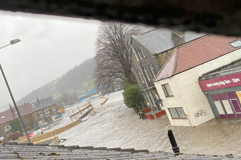 Storm Ciara has flooded the village of Mytholmroyd