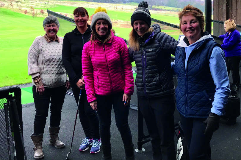 Travel Bureau's marketing manager Kathryn (in pink) at the Close House Festive Golf Day 2018