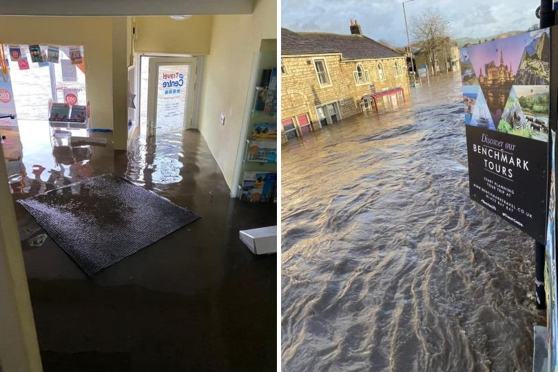The Travel Centre was flooded amid the heavy Storm Ciara rains