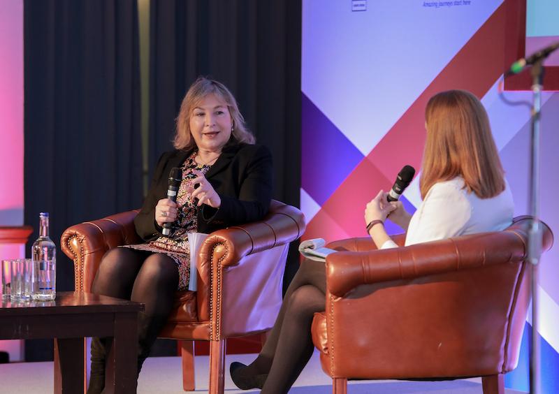 VisitBritain's Patricia Yates (left) in conversation with TTG Media's Pippa Jacks