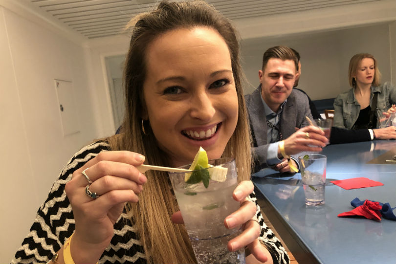 Sophie Griffiths tries out the cocktails onboard Virgin Voyages' Scarlet Lady