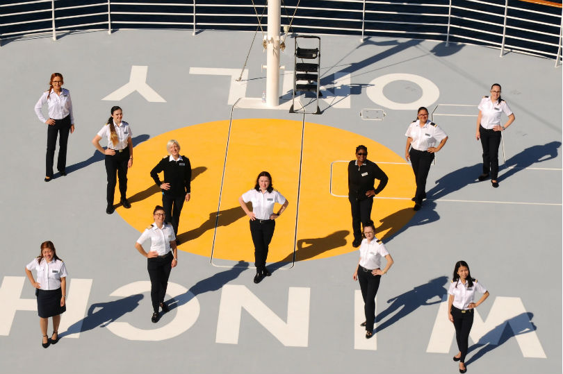 Celebrity Cruises' first all-female bridge and officer team