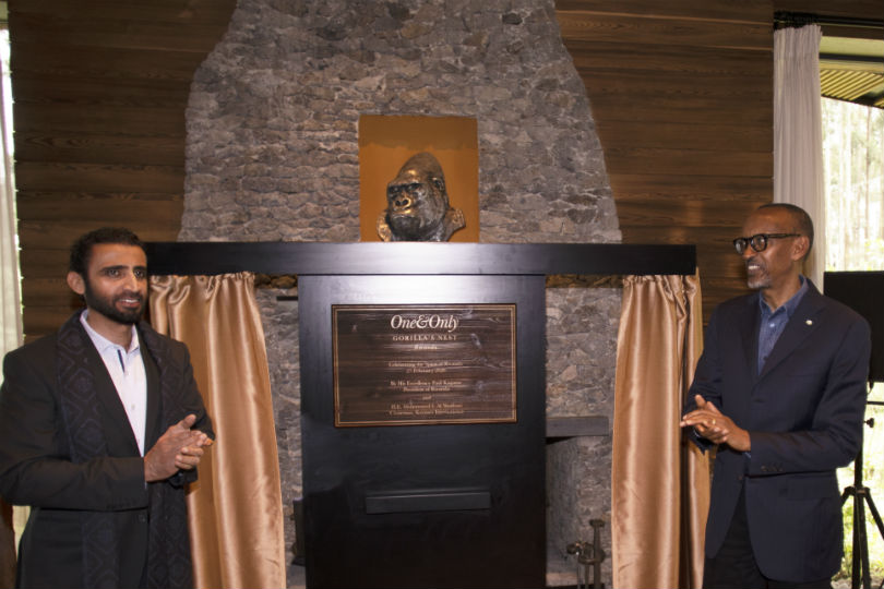 Mohammed Al Shaibani and Paul Kagame officially open One&Only Gorilla's Nest