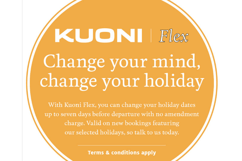 Kuoni Flex allows clients to change the dates of a holiday up to a week before departure