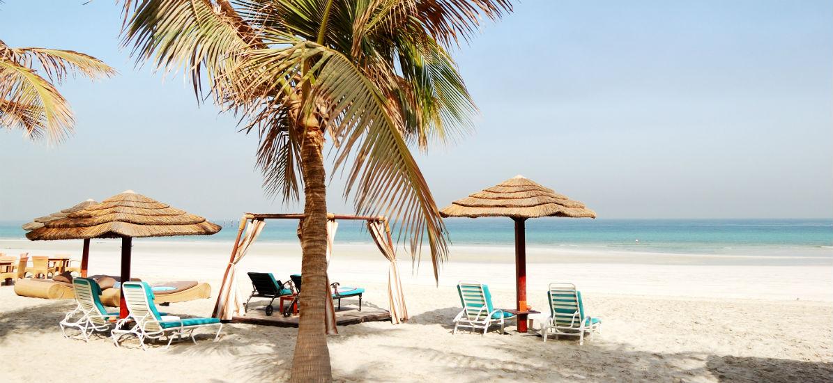 Beach of the luxury Ajman hotel in the United Arab Emirates