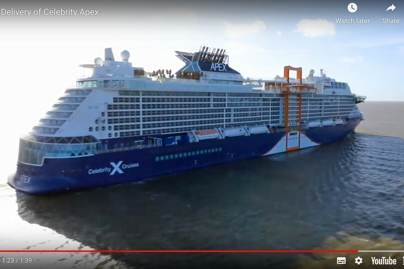 Celebrity took delivery of its newest ship, Apex, virtually due to the coronavirus crisis