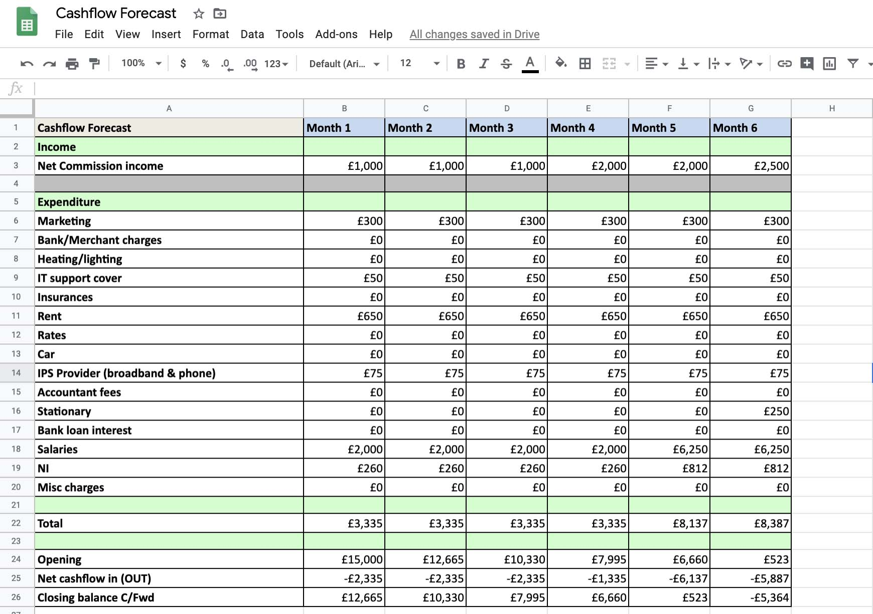 You can use Microsoft Excel or Google Sheets to create your cash flow forecast document