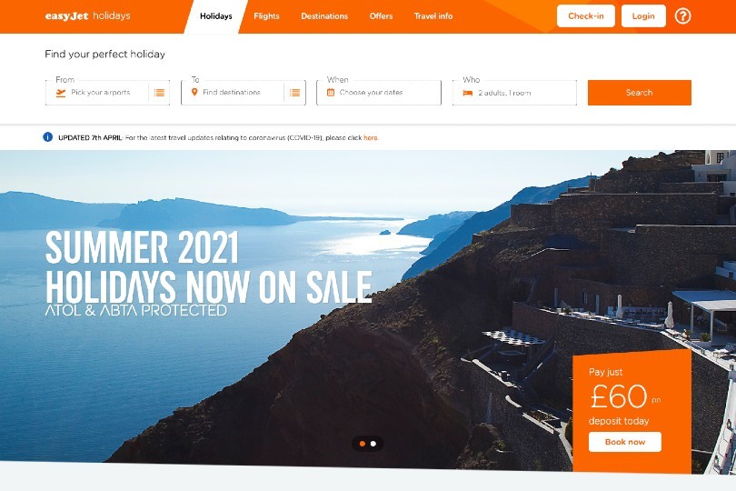 EasyJet Holidays has placed its winter 2020/21 and summer 2021 holidays on sale