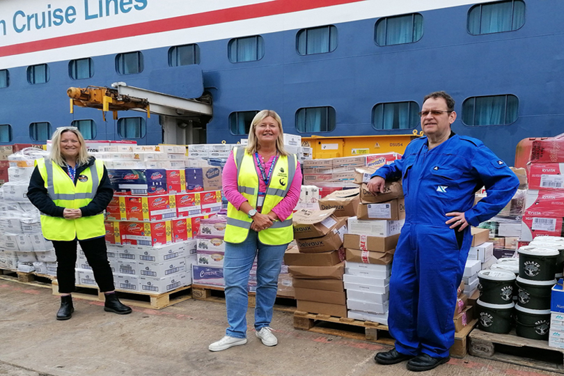 Donations were made from its four ocean ships to food distribution charity FareShare