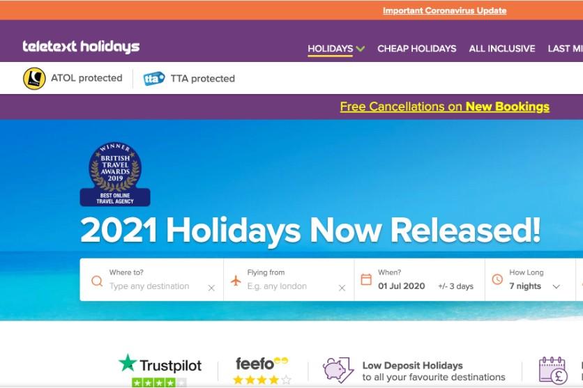 Teletext Holidays' website