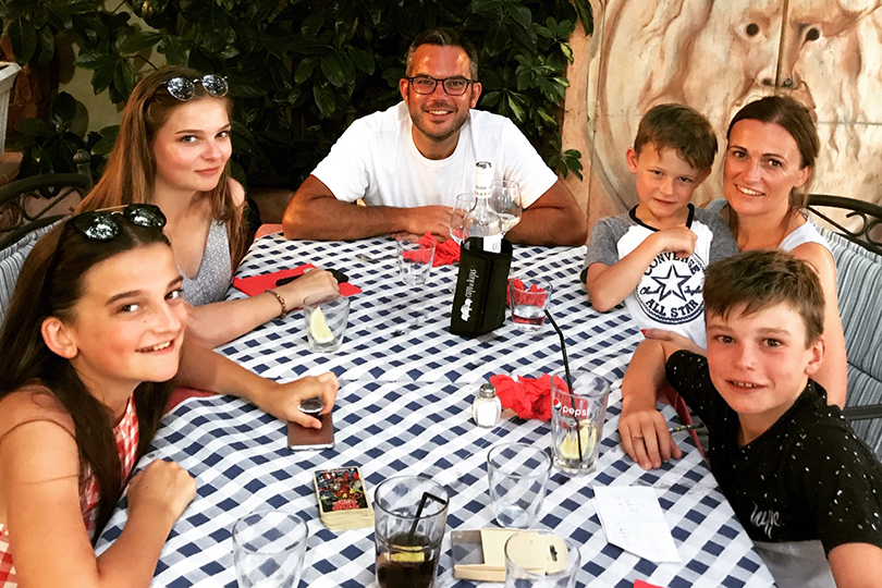 Alex Buckle with his family on holiday
