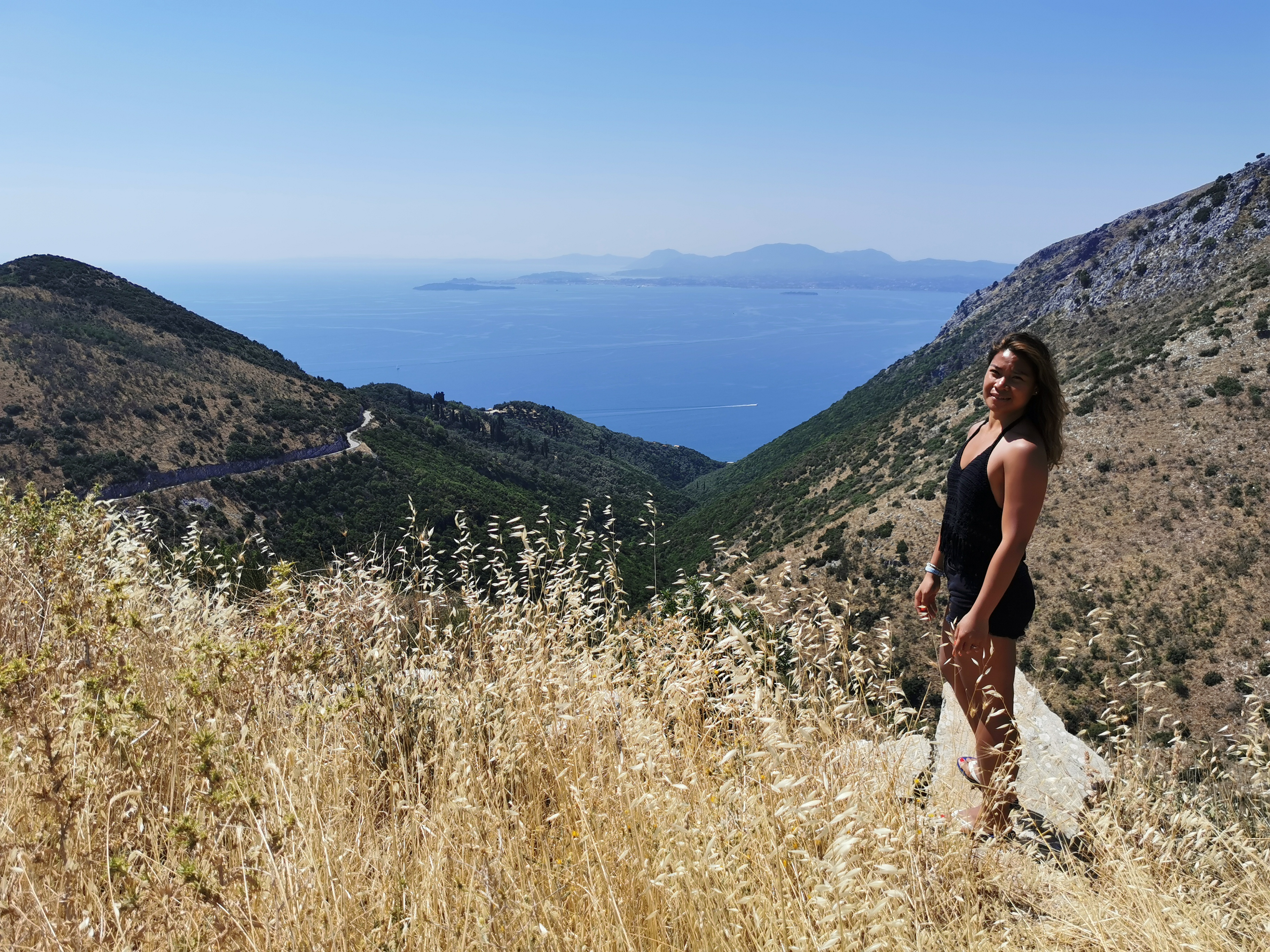 Mary Ann enjoys the views from Mount Pantokrator