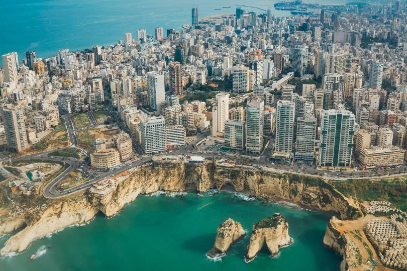 The blast happened near Beirut's port (top of image) (Credit: Piotr Chrobot / Unsplash)