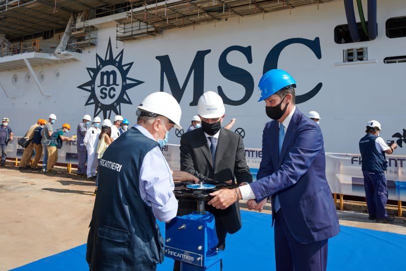 The floating out ceremony for MSC Seashore took place in Italy