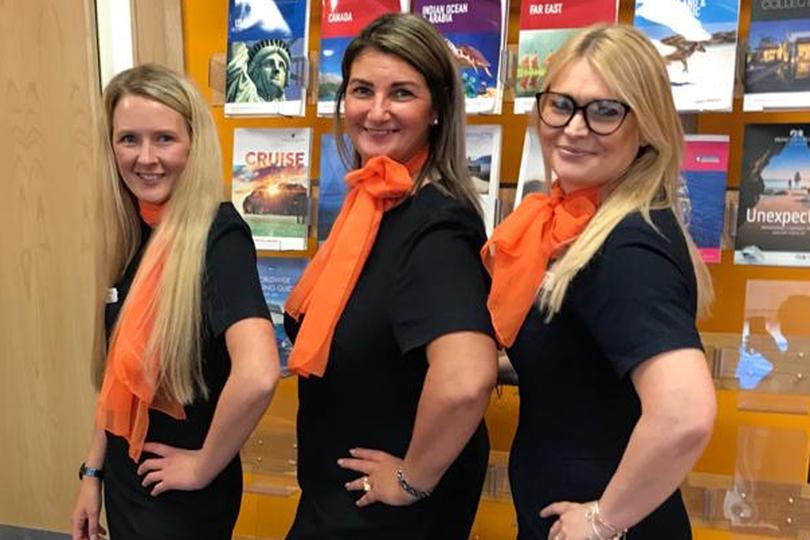 (l-r) Peterhead's assistant manager, Nicola Milne; Annie Pentland, sales consultant; and Karen Erridge, branch manager