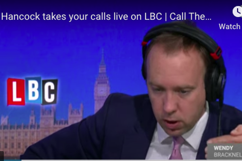 Matt Hancock was quizzed on an LBC phone-in show