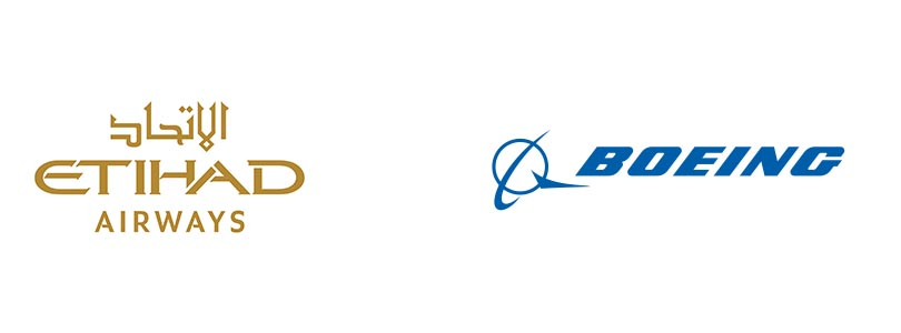 Etihad and Boeing logos