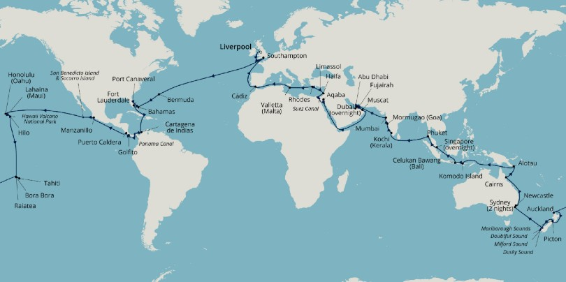 Borealis will make 37 calls over the course of the 100-night itinerary