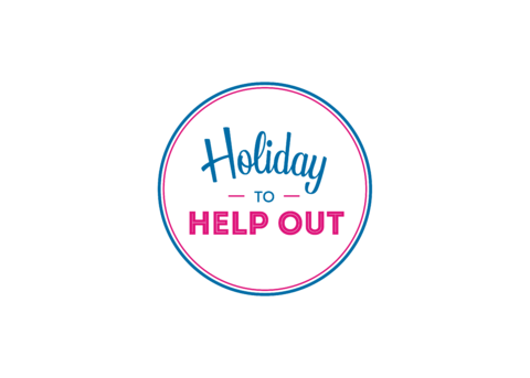 Holiday to help out logo, white badge on transparent png