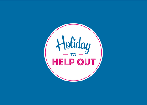 Holiday to help out logo, white badge on blue jpg