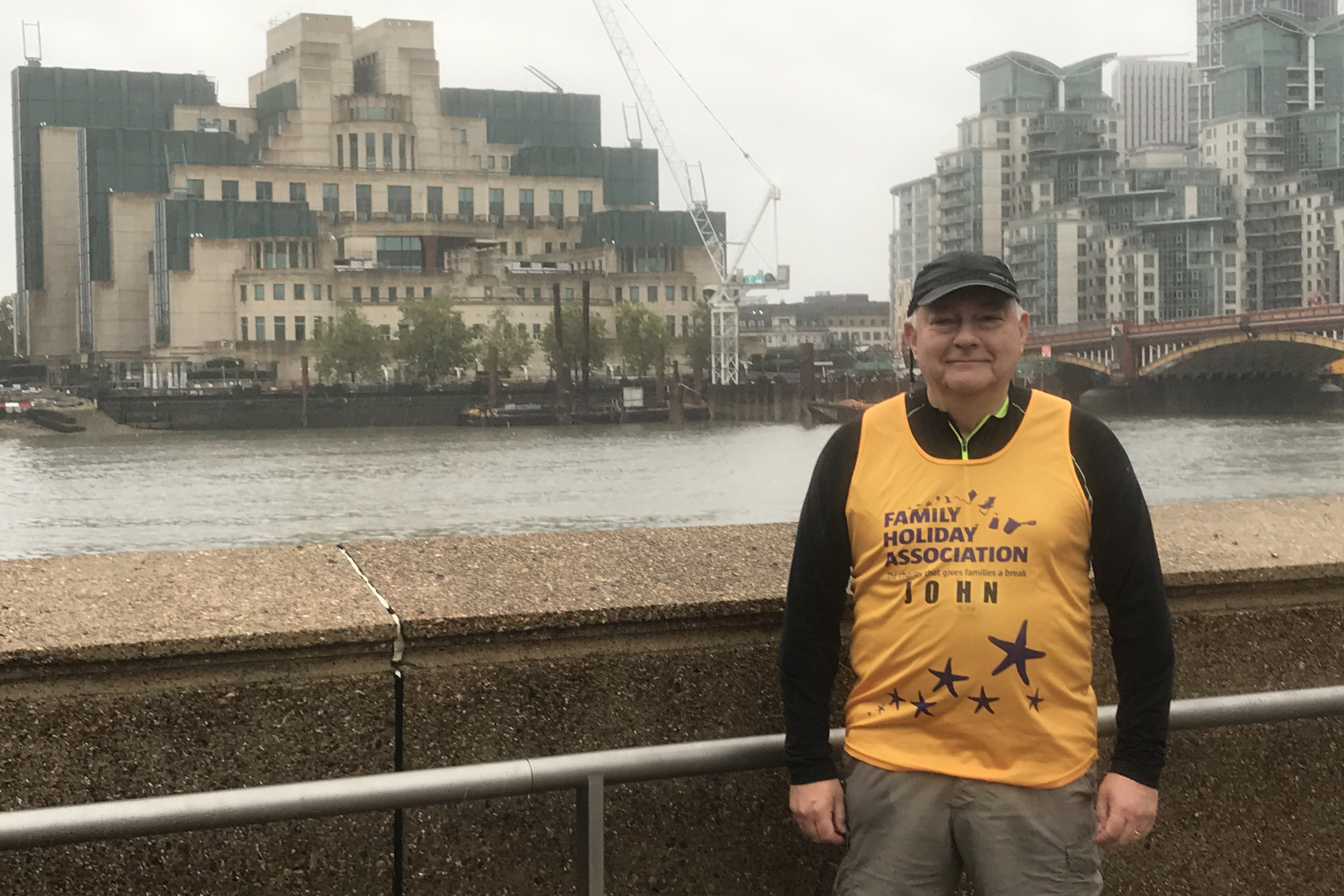 John de Vial pictured during his 2020 London Marathon